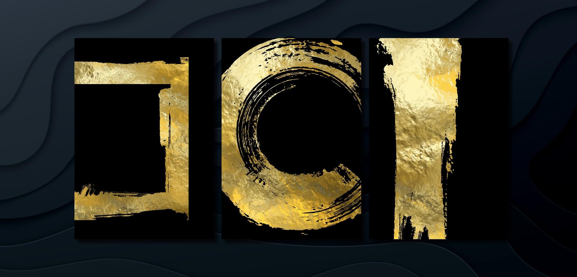 Gold ink on black card